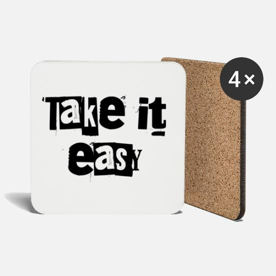 Sentence Mugs & Drinkware - take it easy - Coasters white