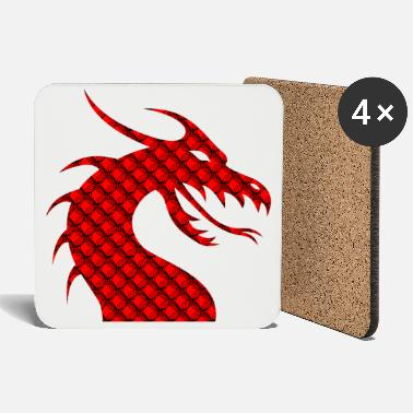 Red Red dragon patterned silhouette - Coasters