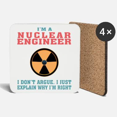 Atom Best Nuclear Engineer Tshirt, Funny Quote - Coasters