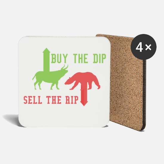 Bank Mugs & Drinkware - Buy the dip sell the rip trading stock shares - Coasters white