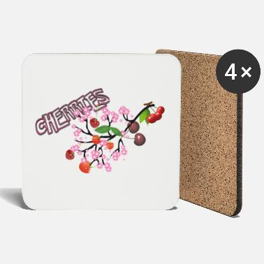 Cherry Cherries. Cherries with cherry blossoms. - Coasters