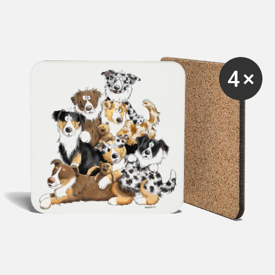 Australian Shepherd Mugs & Drinkware - Australian Shepherd dog heap I Aussie dogs - Coasters white
