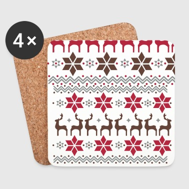 Poinsettia pattern and reindeer pattern  - Coasters (set of 4)