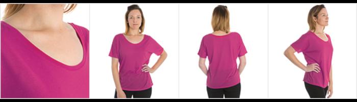 Dame T-shirt med flagermusærmer fra Bella + Canvas