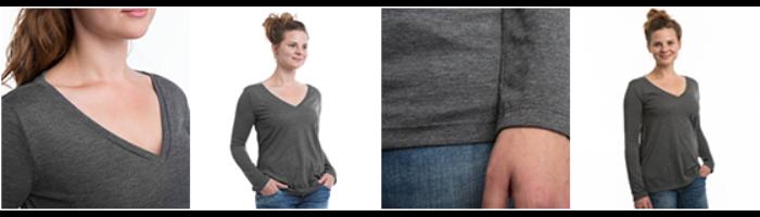 Dame T-shirt med V-udskæring, lange ærmer