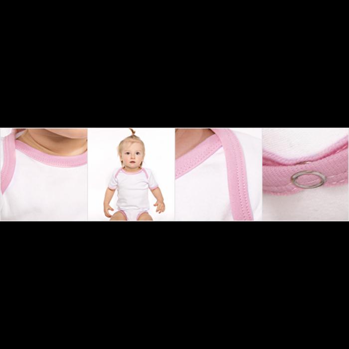 Kortærmet ækologisk babybody i kontrastfarver