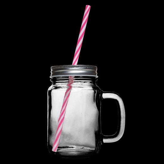 Glass med hank og skrulokk