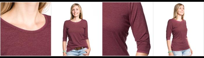 Premium T-skjorte med 3/4 erme for kvinner