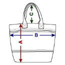 Strandtasche - Skizze mit Abmessungen