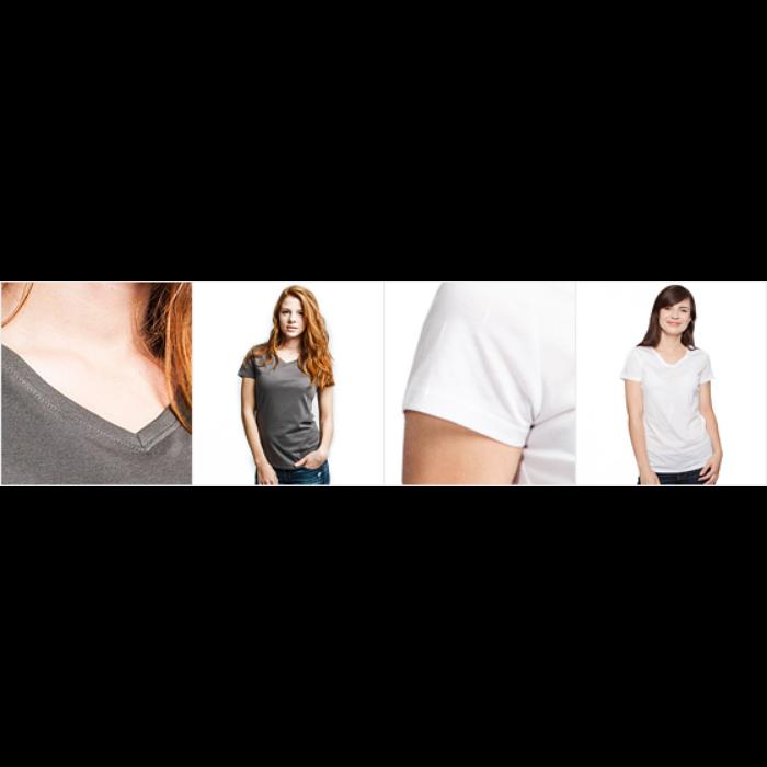 T-skjorte med V-utsnitt for kvinner
