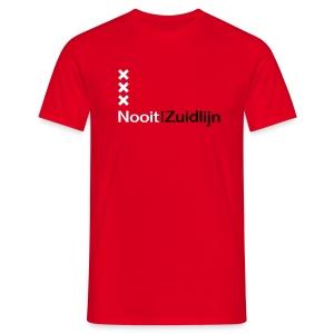Nooit|Zuidlijn - Rood - Mannen T-shirt