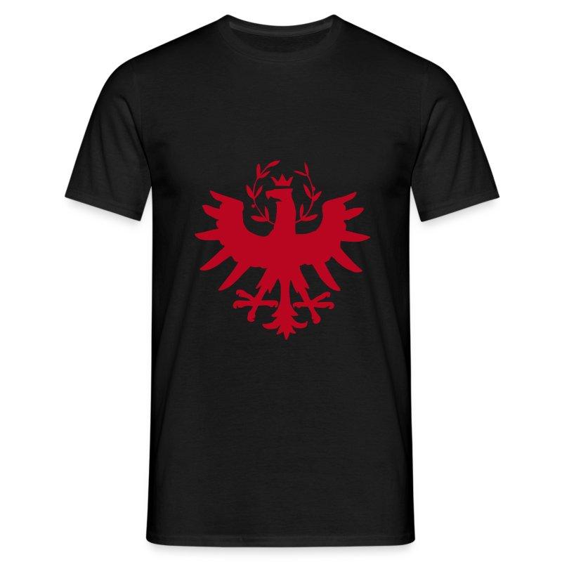 Tiroleradler Schwarz, Flockdruck Rot - Männer T-Shirt