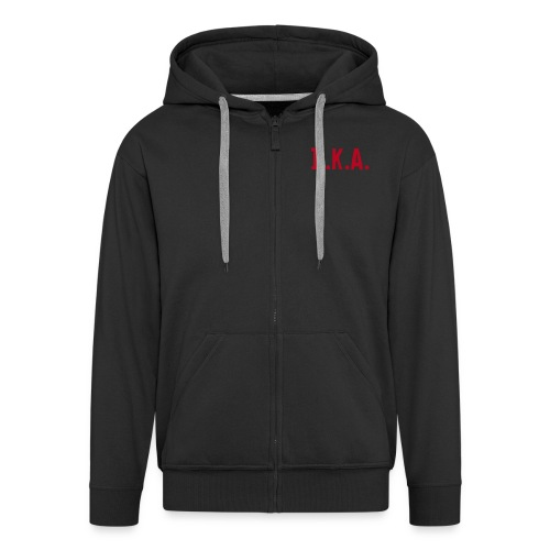 Hooded jacket zipped with D.K.A. logo and picture (red) - Men's Premium Hooded Jacket