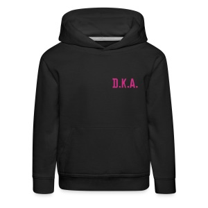 kids Hoodie with D.K.A. logo and picture (pink) - Kids' Premium Hoodie