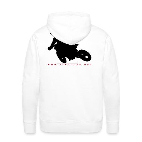 17 supermoto sweat - blanc - Sweat-shirt à capuche Premium pour hommes