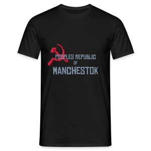 Manchestok, mens, silver text, any colour. - Men's T-Shirt