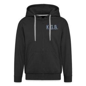 KGB Hoodie Silver Text, Any Colour - Men's Premium Hooded Jacket