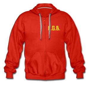KGB Hoodie Yellow Text, Any Colour. - Men's Premium Hooded Jacket