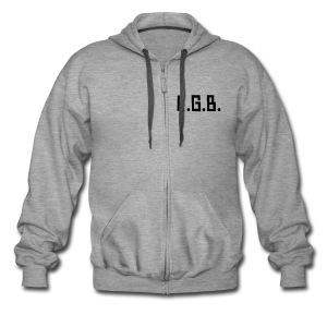 KGB Hoodie Gray Text, Any Colour. - Men's Premium Hooded Jacket