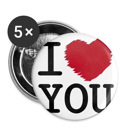 I love you knappar - Stora knappar 56 mm (5-pack)
