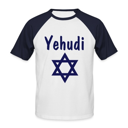 Men's Baseball T-Shirt - Yehudi means jewish in hebrew, and the star is the star of David.