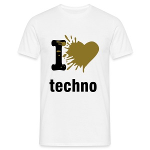 i love techno GOLD METALLIC - Men's T-Shirt
