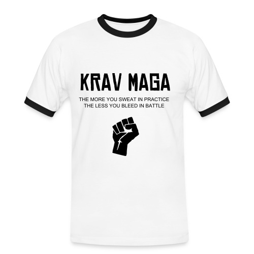 Krav Maga fist white/black collar T - Men's Ringer Shirt