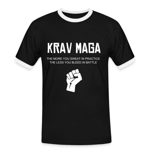 Krav Maga fist black/white collar T - Men's Ringer Shirt