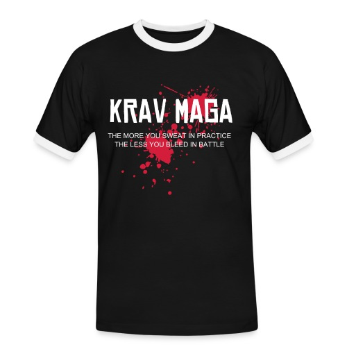 Krav Maga splatter black/white collar T - Men's Ringer Shirt