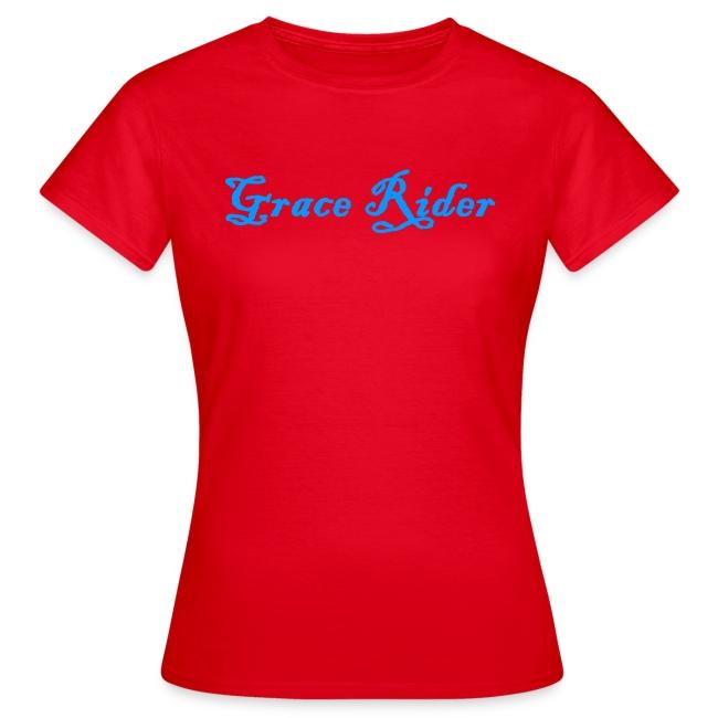 GRACE RIDER T-Shirt (blau auf rot) WOMEN