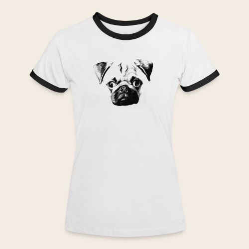 Frauen Shirt Mops Kopf - Frauen Kontrast-T-Shirt