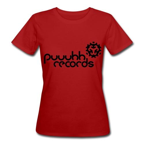 Frauen T-Shirt klimaneutral puuuhh records - schwarze Schrift - Frauen Bio-T-Shirt