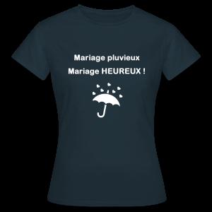 mariage pluvieux mariage heureux motif parapluie coeurs t shirt femme - Parapluie Mariage Pluvieux Mariage Heureux