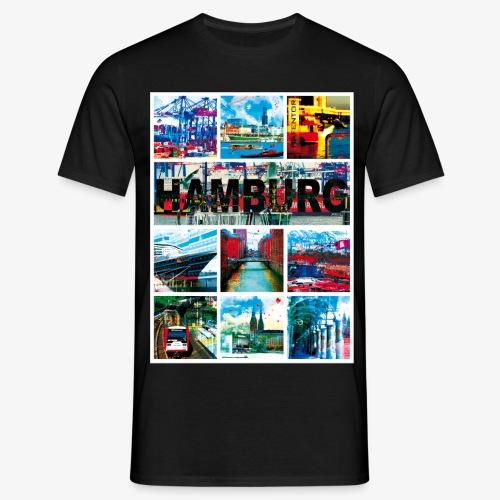 Hamburg Collage 04 Hansestadt Andenken Geschenk M - Männer T-Shirt
