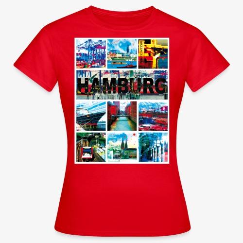 Hamburg Collage 04 Hansestadt Andenken Geschenk Fr - Frauen T-Shirt