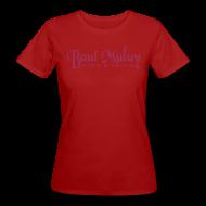 T-Shirts ~ Frauen Bio-T-Shirt ~ Bio-Shirt mit Glitzerdruck, rot