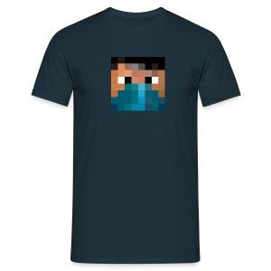 Männer T-Shirt - Logo vorne - Text hinten Who the fuck is Pande? mit QR-Code - Männer T-Shirt
