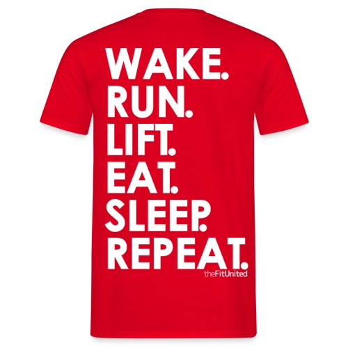 wake. run. lift. eat. sleep. repeat. - White - Men's T-Shirt