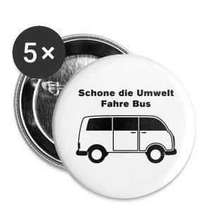 Schone die Umwelt – fahre Bus (vintage), Button groß - Buttons groß 56 mm