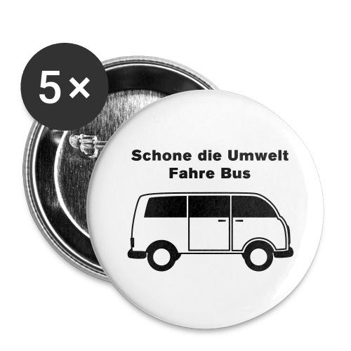 Schone die Umwelt – fahre Bus (vintage), Button klein - Buttons klein 25 mm (5er Pack)