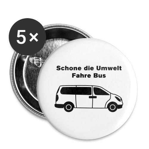 Schone die Umwelt – fahre Bus (modern), Button groß - Buttons groß 56 mm (5er Pack)