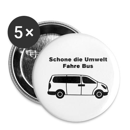 Schone die Umwelt – fahre Bus (modern), Button klein - Buttons klein 25 mm (5er Pack)