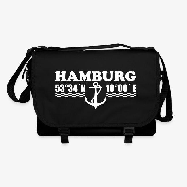 Hamburg Koordinaten Margarita Art Tasche Schultertasche Umhängetasche schwarz