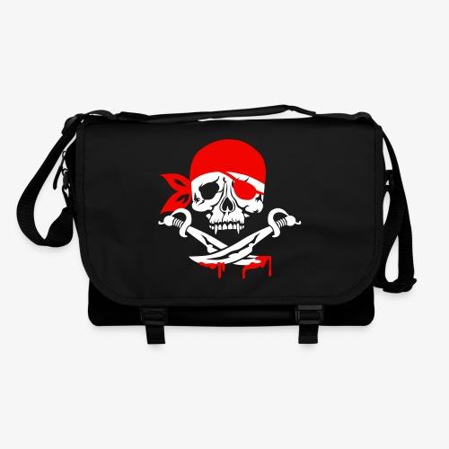 Totenkopf Hamburg Skull Schädel Piraten Tasche Schultertasche Umhängetasche schwarz  1c - Umhängetasche