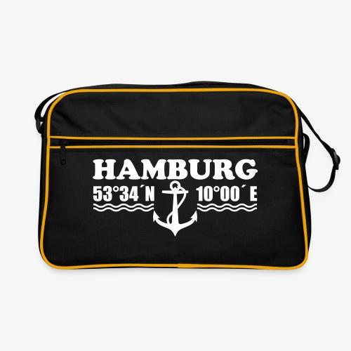 Hamburg Koordinaten Margarita Art Retro Tasche Schultertasche Umhängetasche schwarz - Retro Tasche