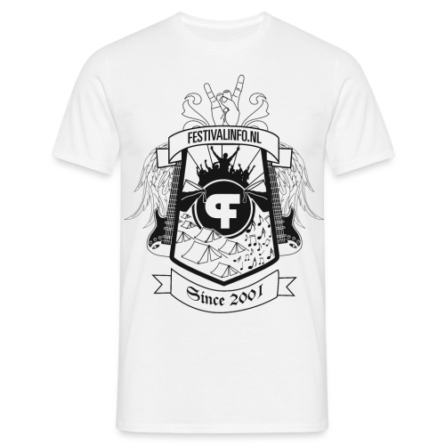 Festivalinfo schild wit (male) - Mannen T-shirt