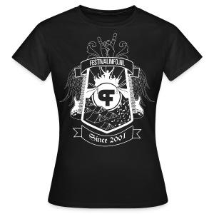 Festivalinfo schild zwart (female) - Vrouwen T-shirt