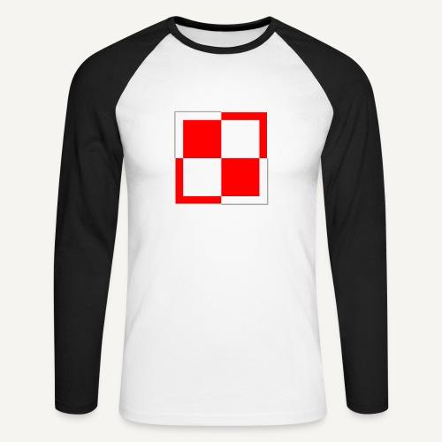 Szachownica - znak lotnictwa polskiego - Koszulka męska bejsbolowa z długim rękawem