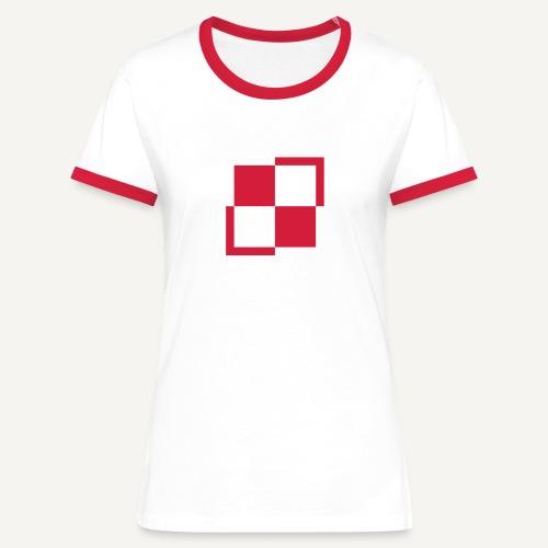 Szachownica - znak lotnictwa polskiego - Koszulka damska z kontrastowymi wstawkami