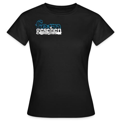 Damenshirt mit Logo und Domain schwarz - Frauen T-Shirt